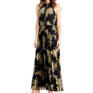 MSK Pleated Back and Gold-Print Gown - PERFECT!